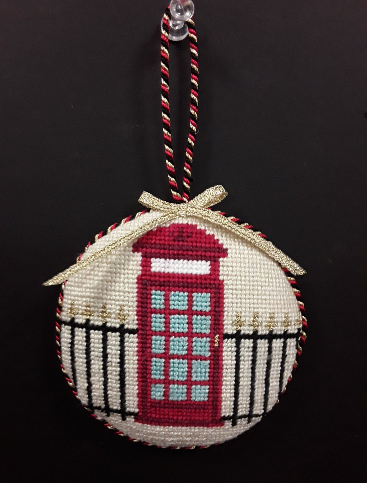 British Call Box  Ornament - Stitched By Barbara K.
