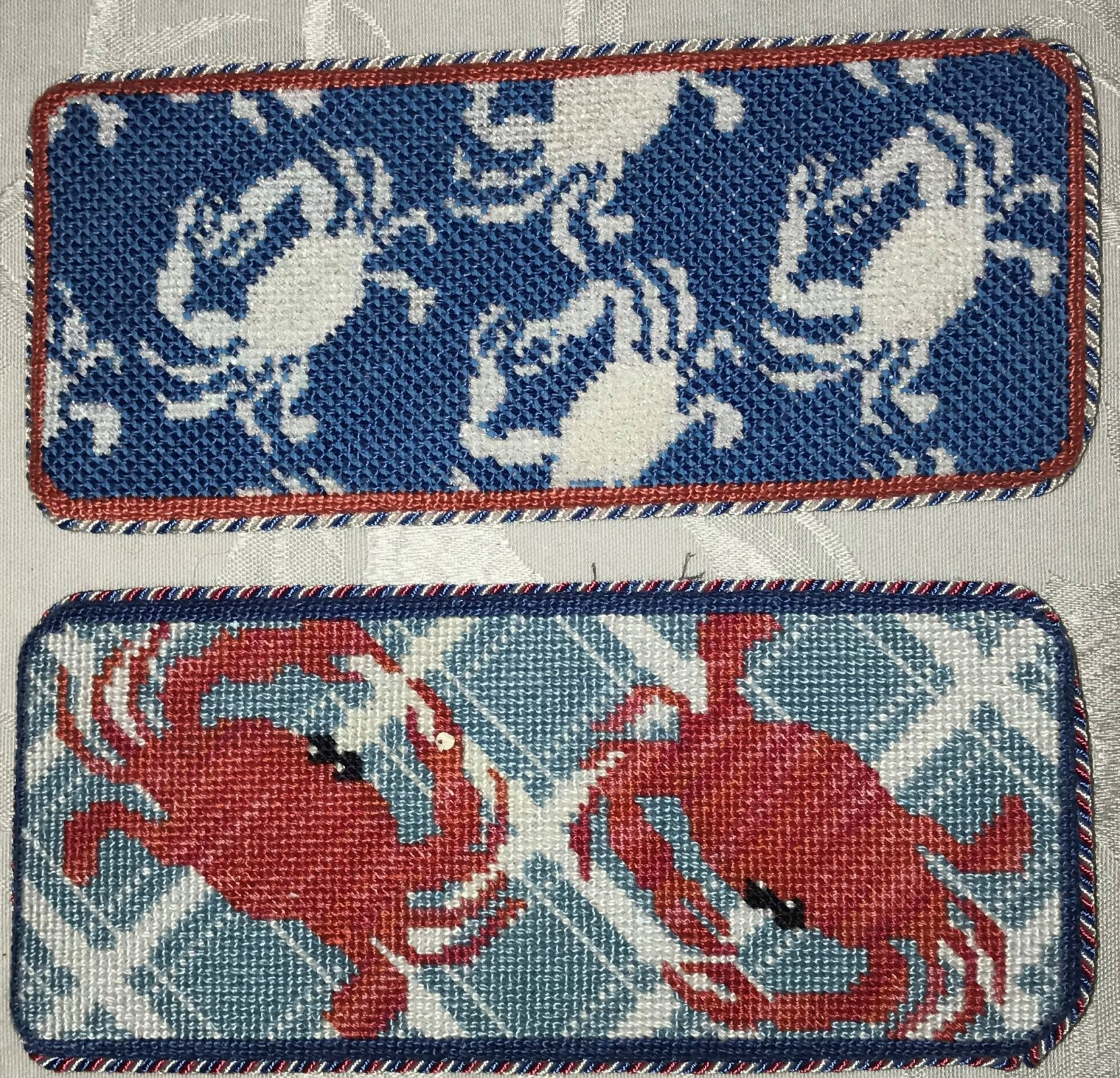 White Crab Eyeglasses Case - Stitched by Cynthia B.