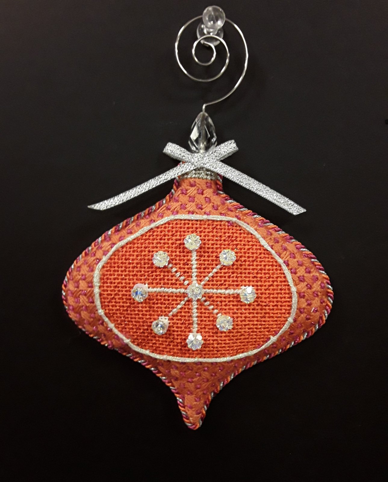 Atomic Bauble Orange - Stitched By Cynthia B.