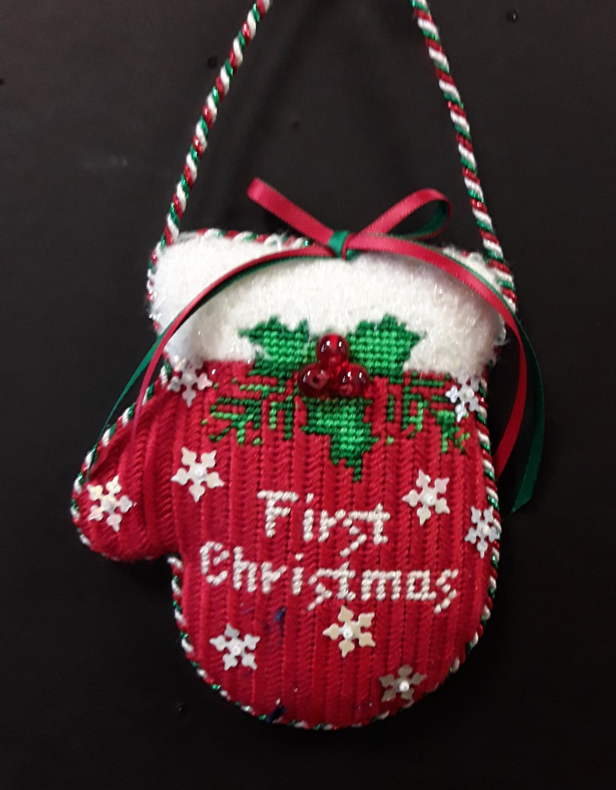 First Christmas Mitten - Stitched by Deby T.