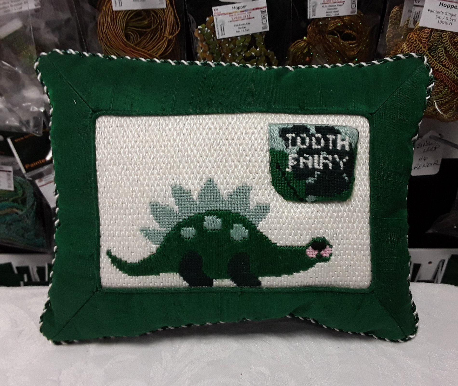 Dinosaur Tooth Fairy Pillow - Stitched by Barbara C.