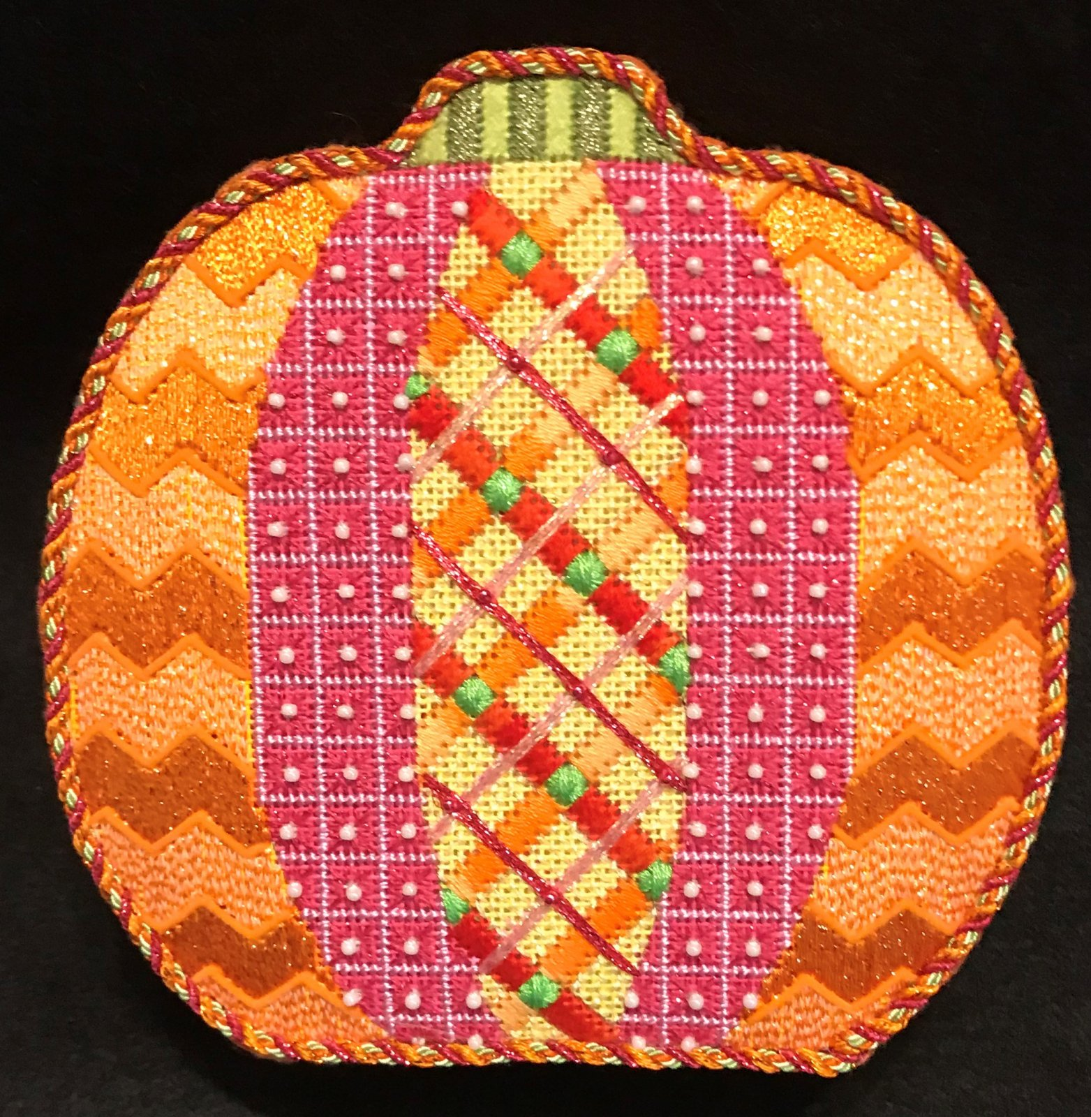 Argyle Pumpkin - Stitched by Judy L.