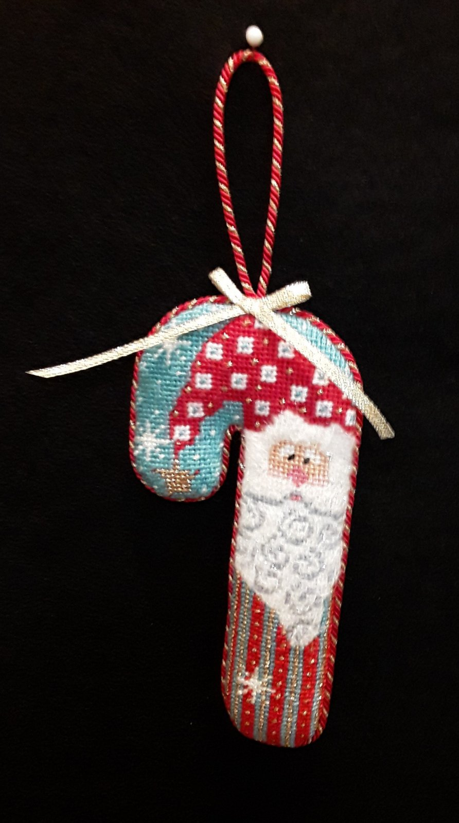 Santa Candy Cane Orn. - Stitched by Kelly Y.