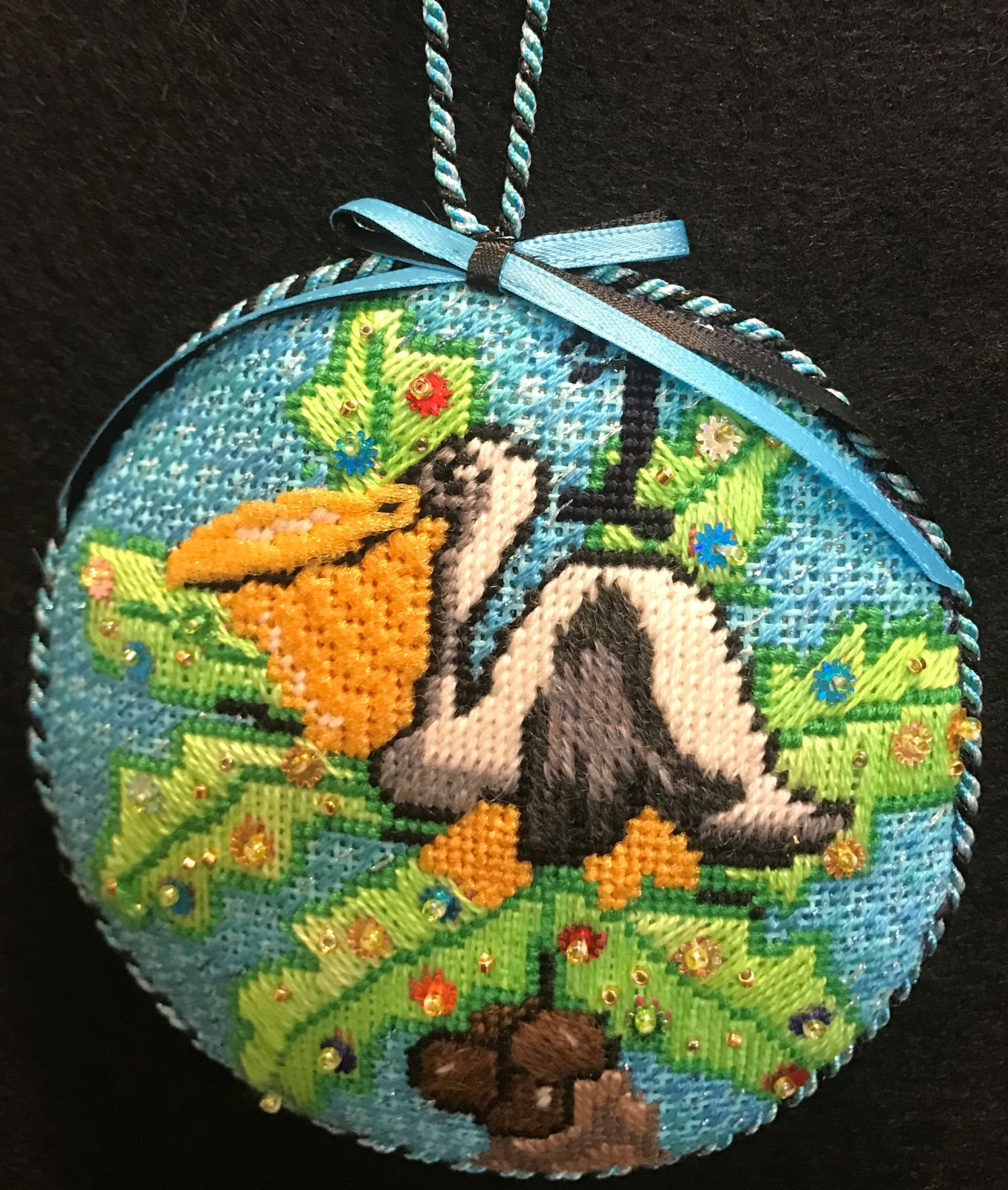 #1 Pelican Ornament - stitched by Stacey G.