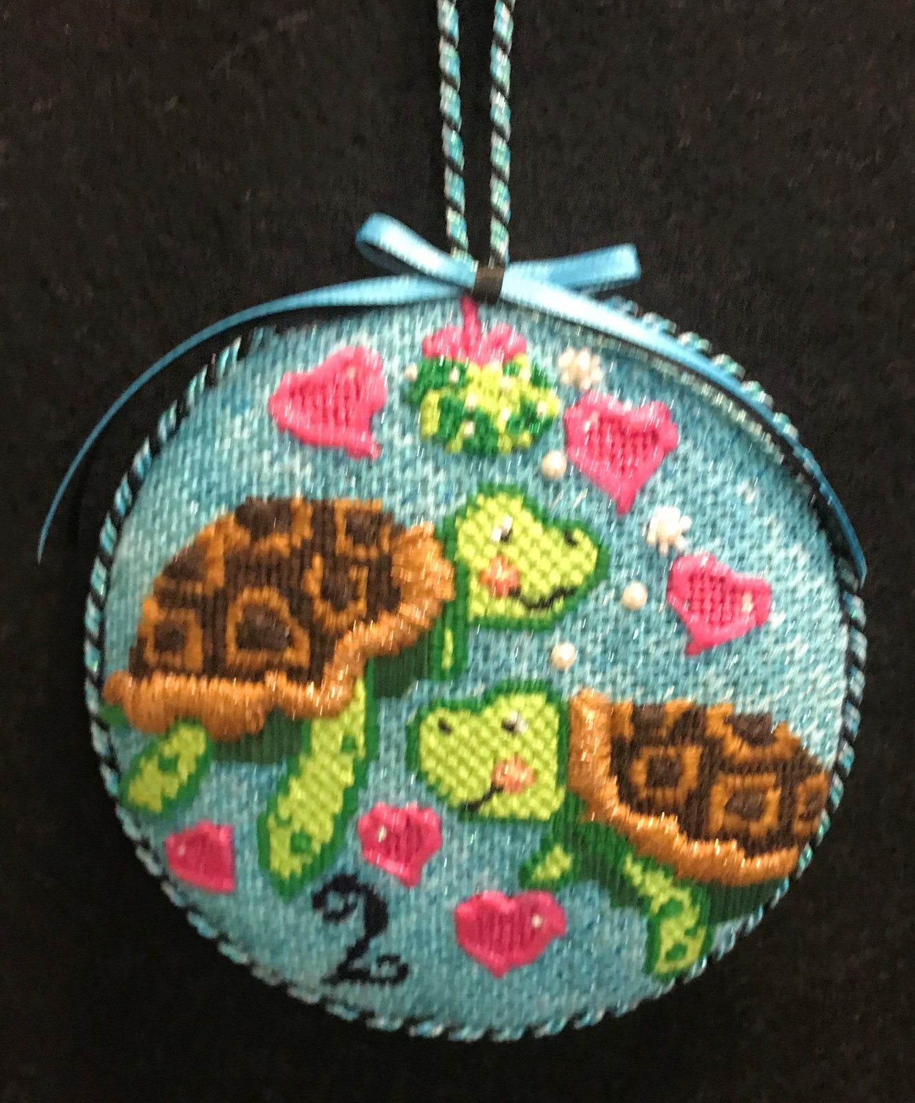 #2 Turtles Ornament - stitched by Stacey G.
