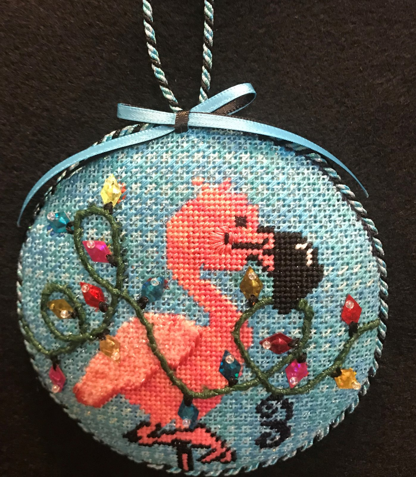 #3 Flamingo Ornament - stitched by Stacey G.
