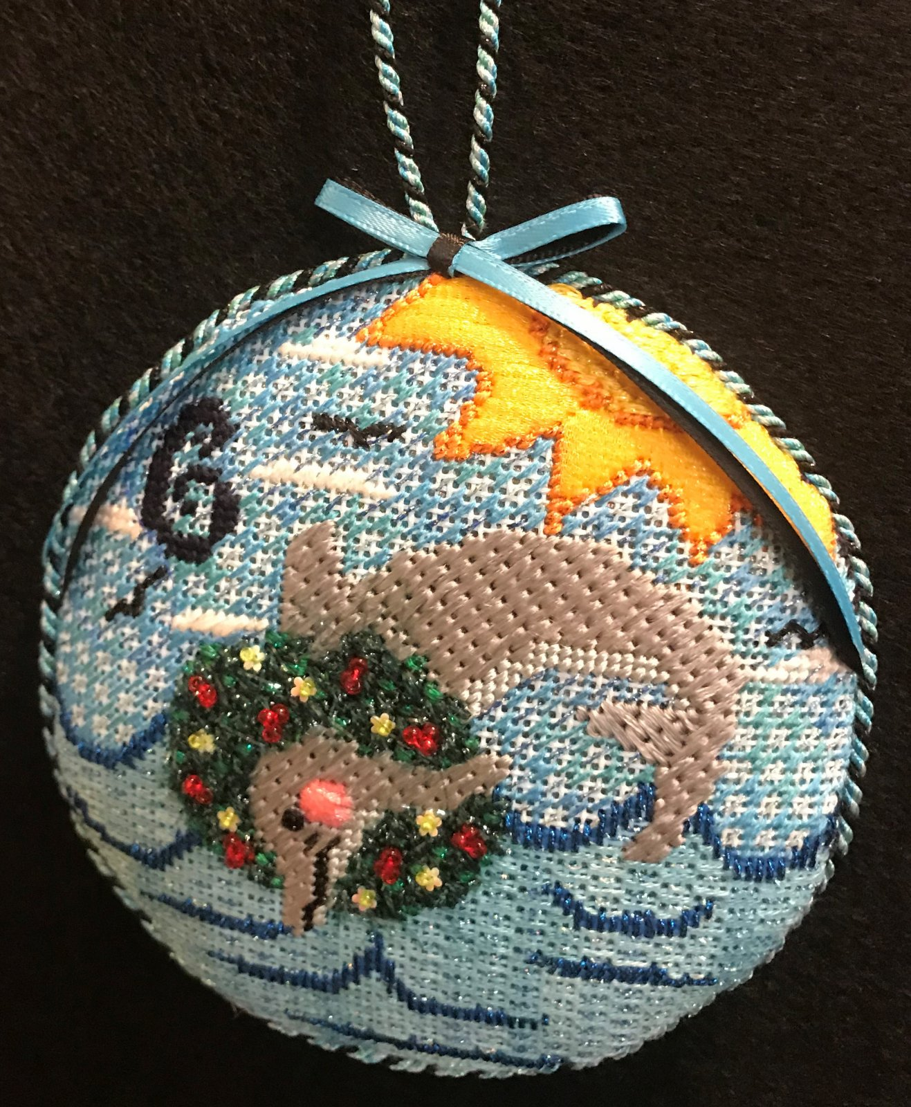 #6 Dolphin Ornament - stitched by Stacey G.