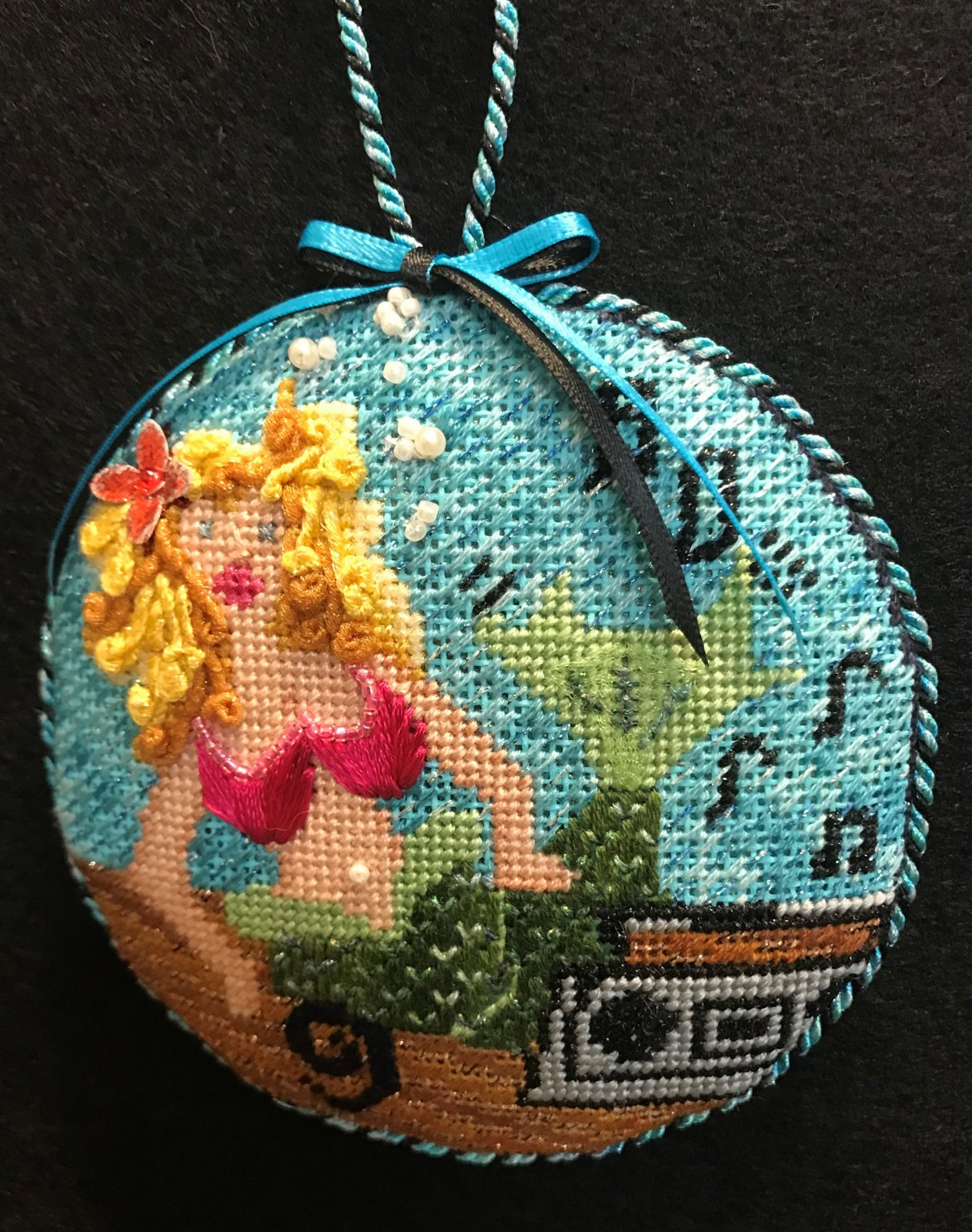 #9 Mermaid Ornament - stitched by Stacey G.