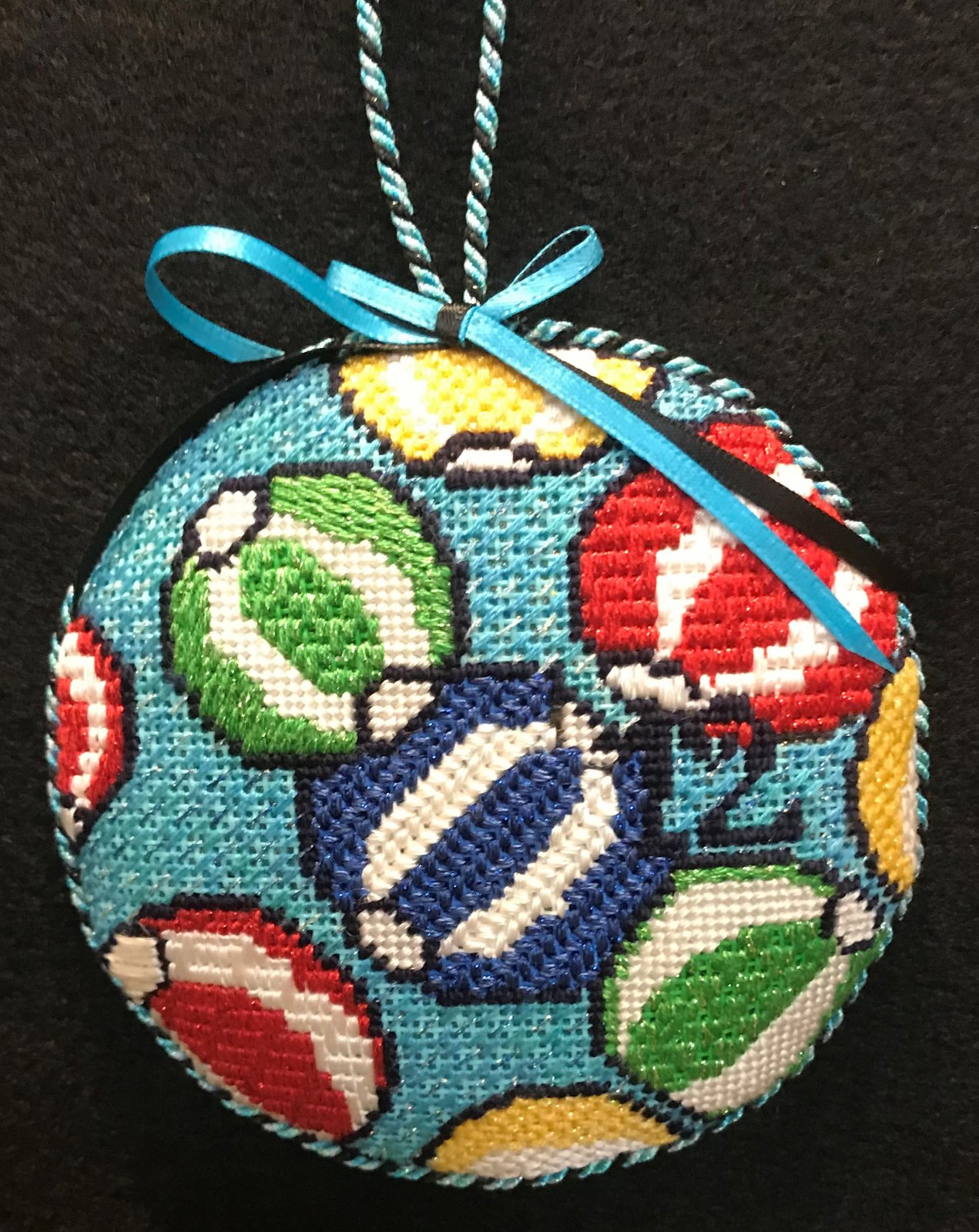 #12 Beachballs Ornament - stitched by Stacey G.