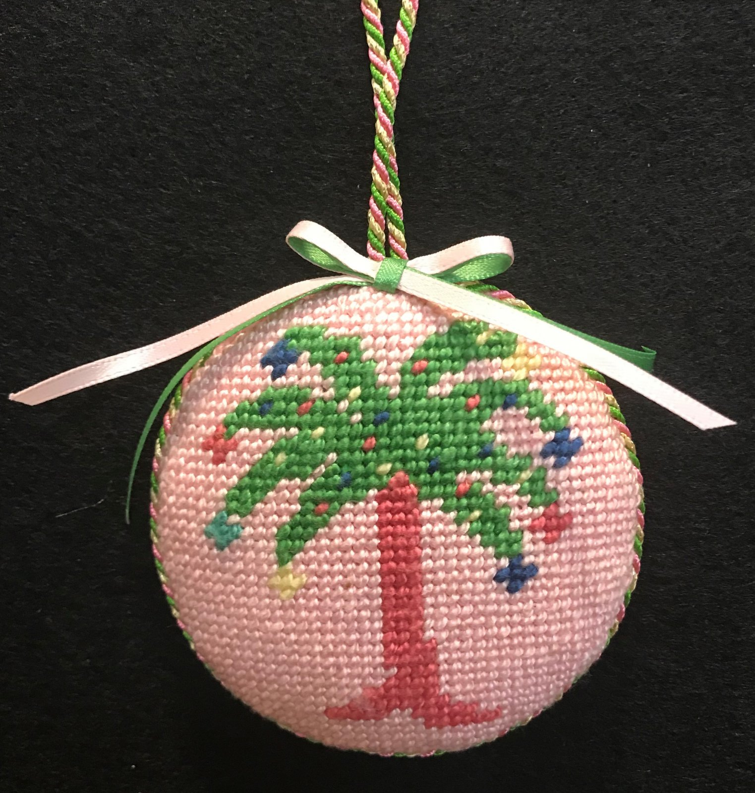 Palm Tree on Pink Ornament - stitched by Carol F.