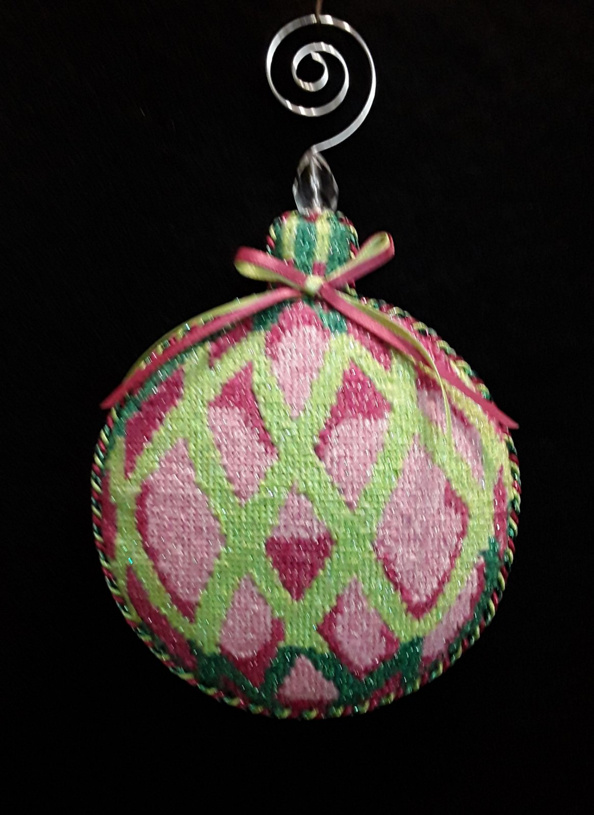 Pink  and Green Bulb Ornament - Stitched by Jean D.