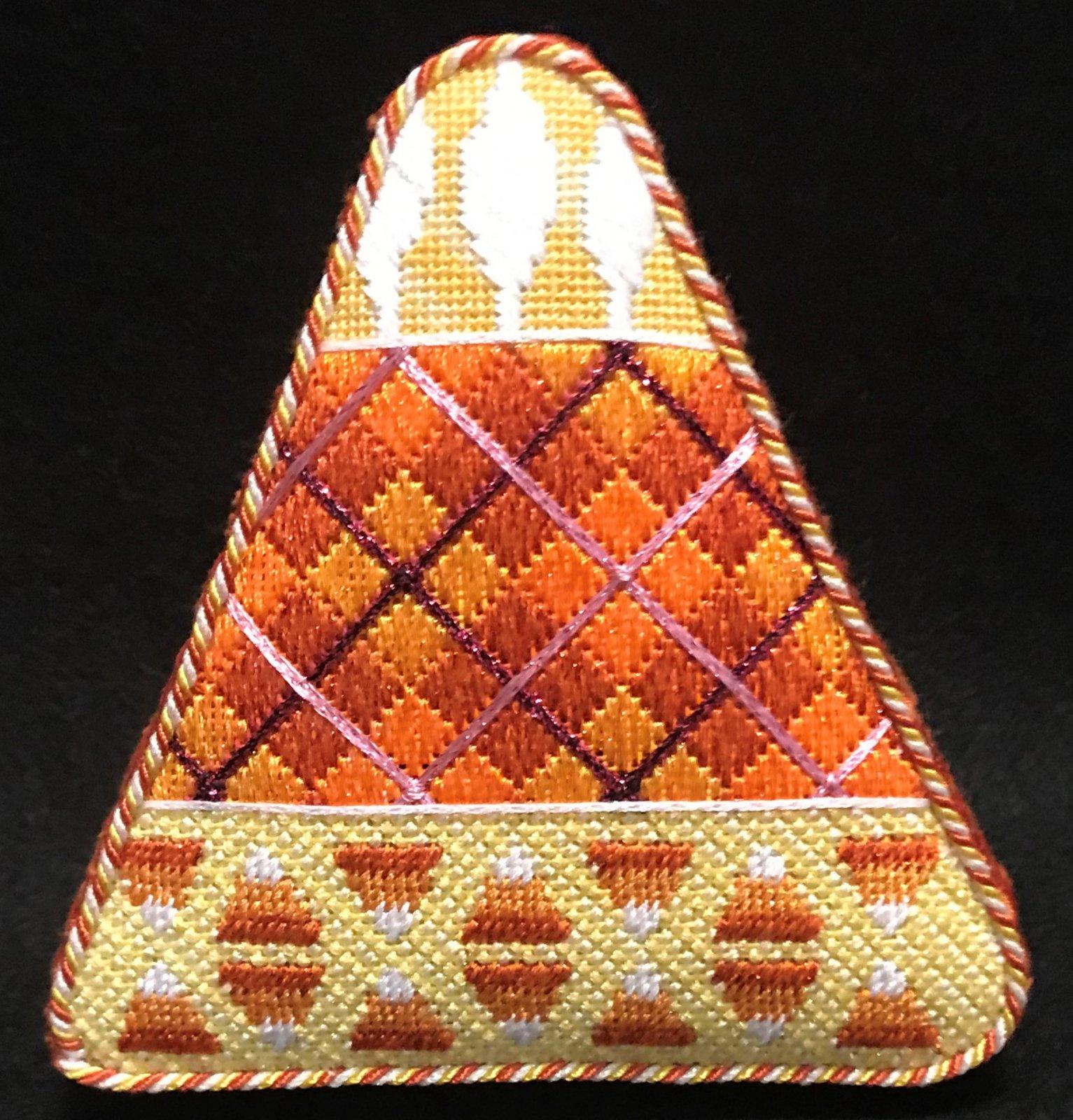 Orange Argyle Candy Corn - Stitched by Judy L.