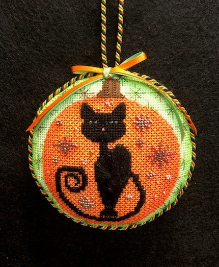 B. Stofft Halloween Cat Round Orn. - Stitched By Deby T.