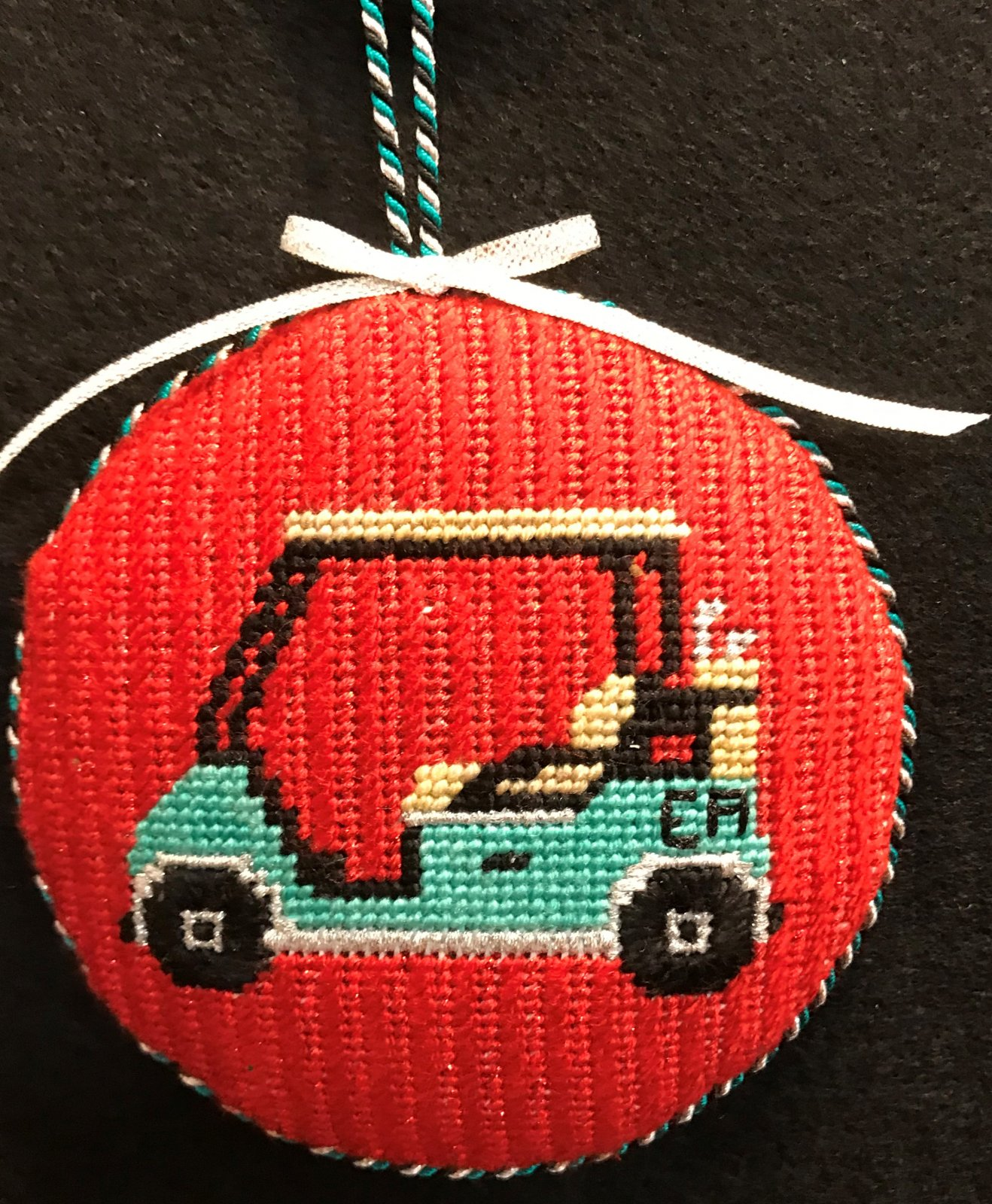 Golf Cart Ornament - stitched by E. Allen