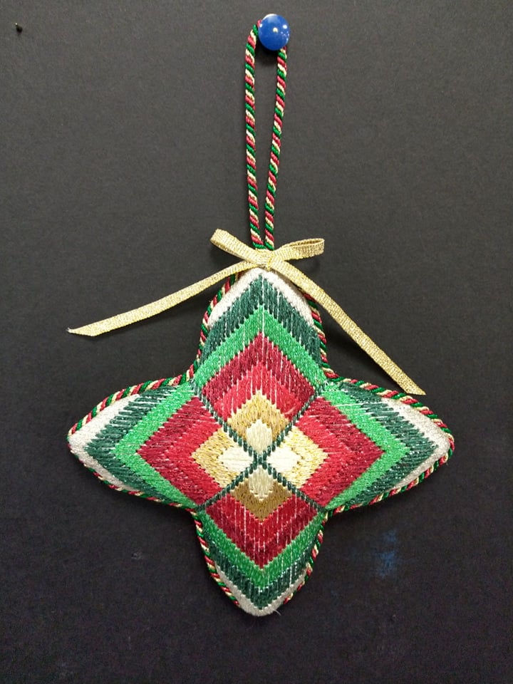 Bargello #7 Ornament - Stitched by Chuck S.