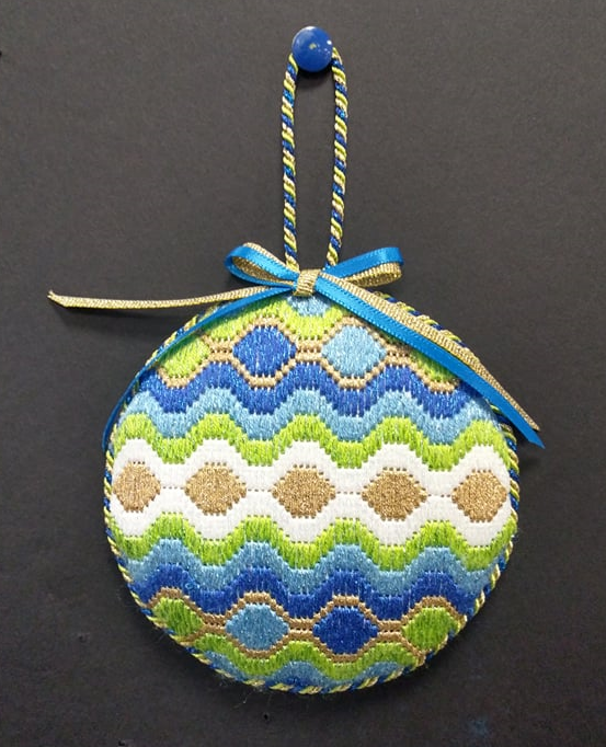 Bargello #8 Ornament - Stitched by Judy L.