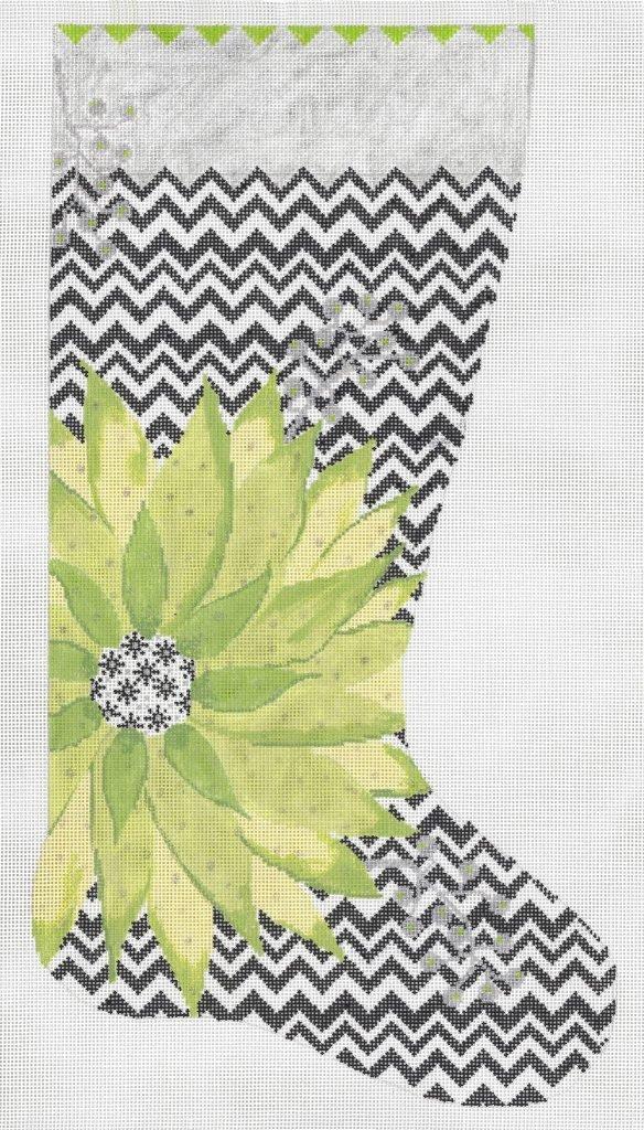 Green Poinsettia Stocking