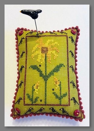 Sunflowers and Crows Pin Cushion