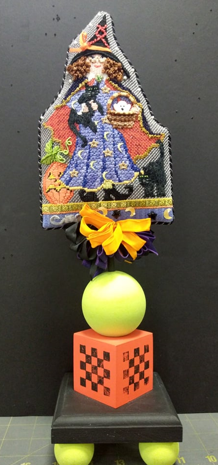 Witch with Cat on Wood Stand Up - Stitched by Jeanette S.
