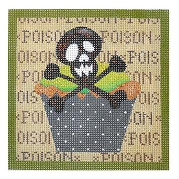 Skull & Crossbone Hallowe'en Cupcake - Mesh Count -18