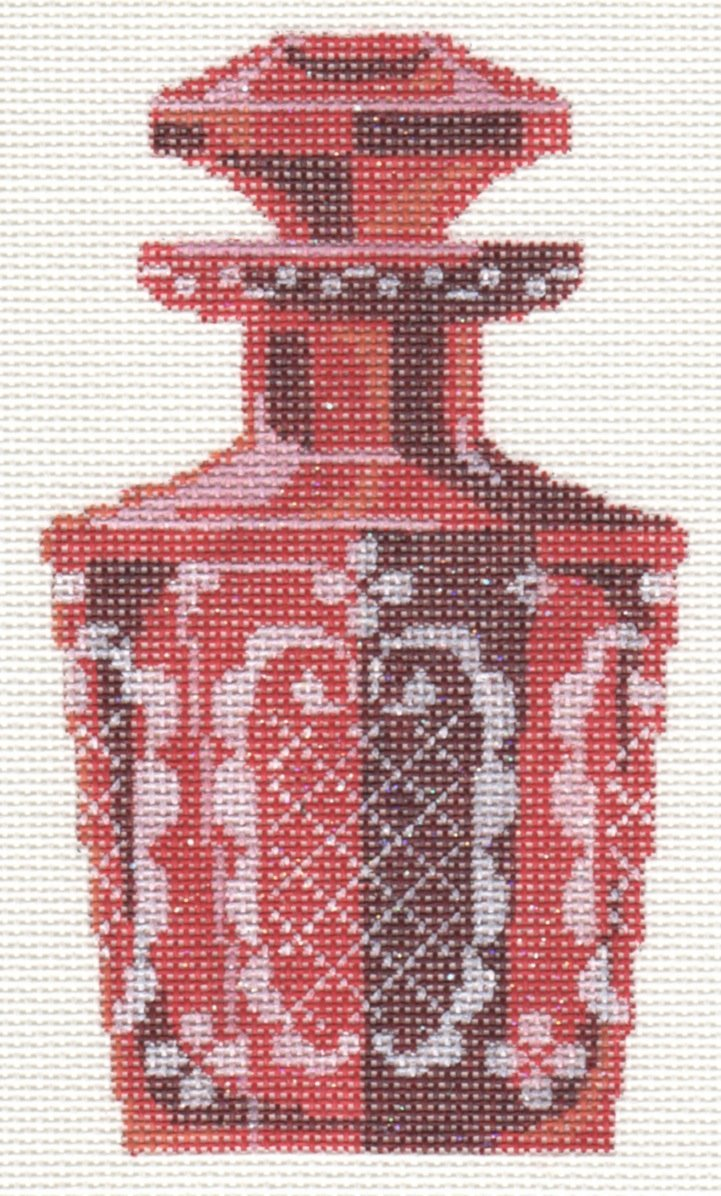 Etched Cranberry Glass Perfume Bottle