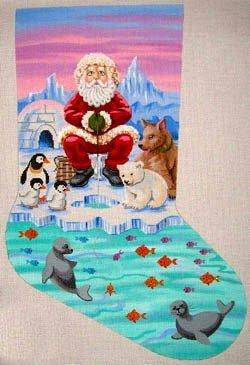 Ice Fishing Santa Stocking