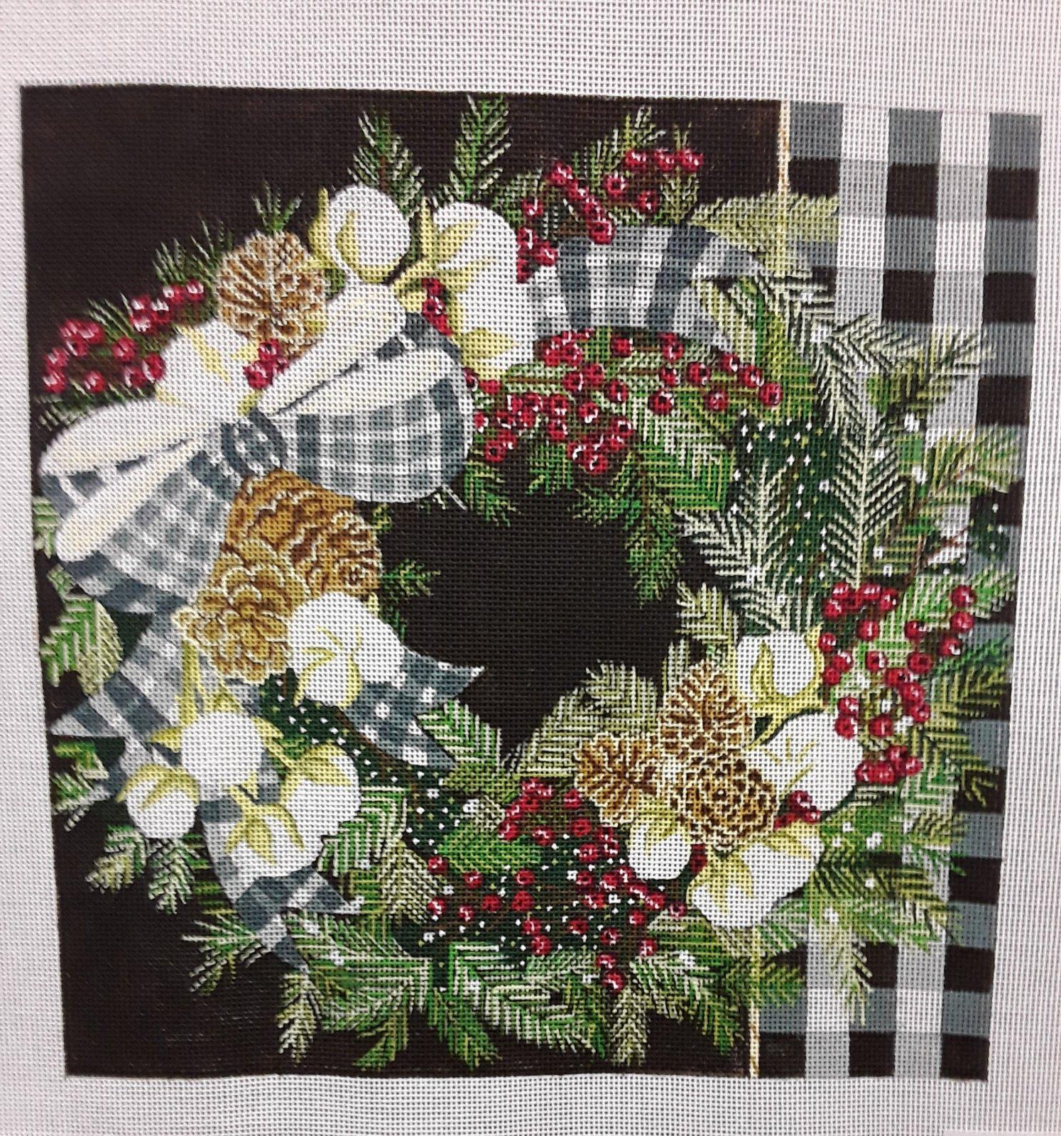 Gingham Bolls Wreath