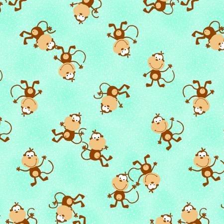 Comfy Prints Flannel Aqua Monkey