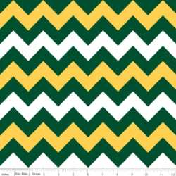 Alpine Flannel Medium Chevron On White Green/Gold