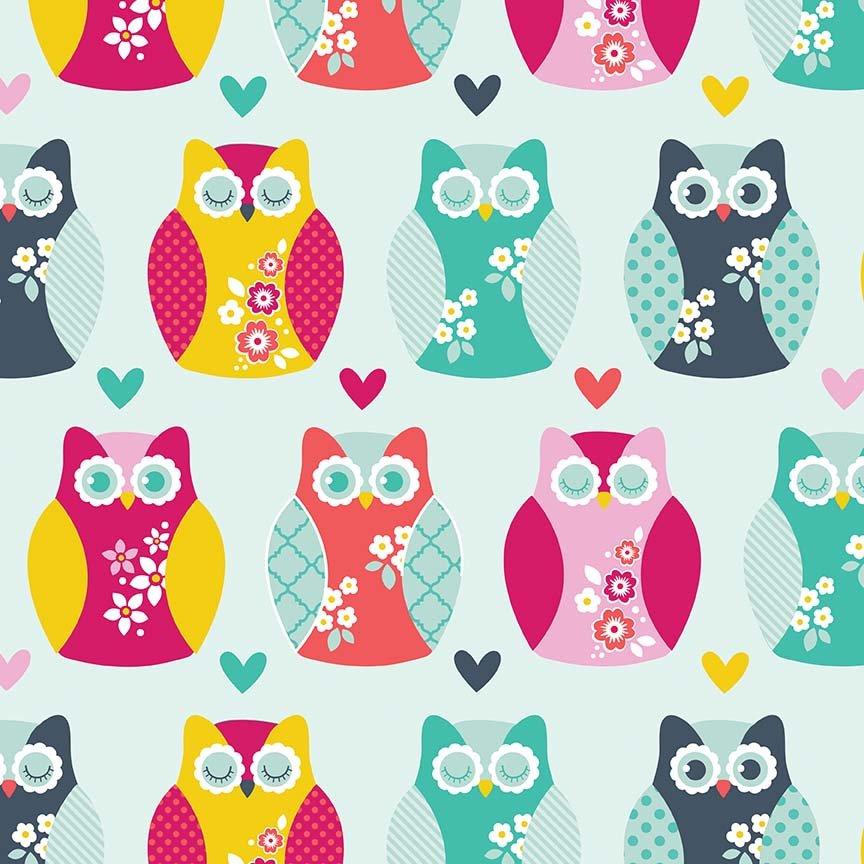 Alpine Flannel Owls and Hearts Aqua