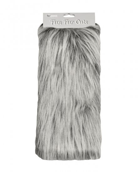 Long Pile 9 x 12 Fun Fur Cuts- Grey Frost