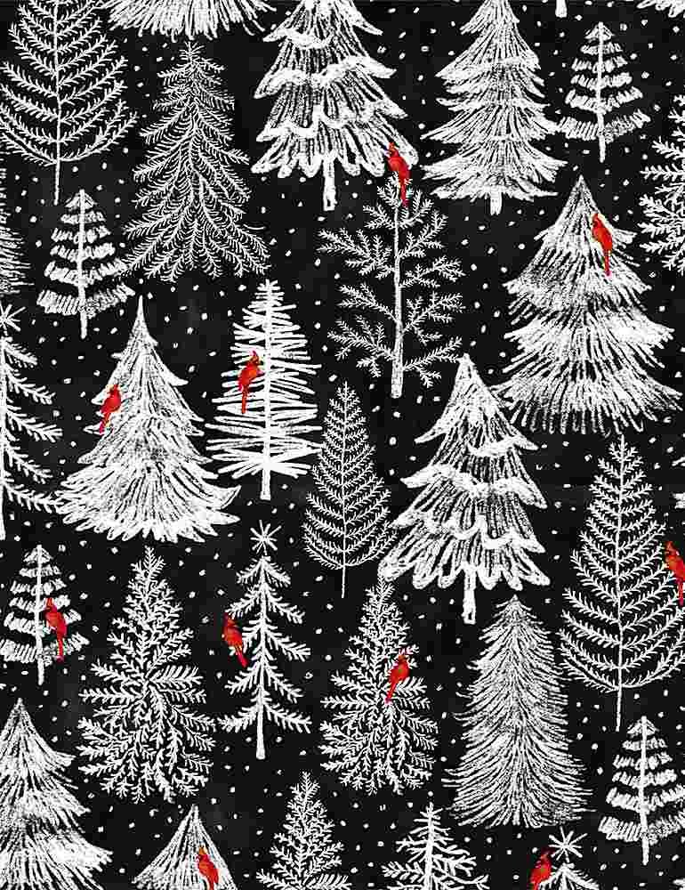 Silent Night Holiday Pine Forest Trees Black