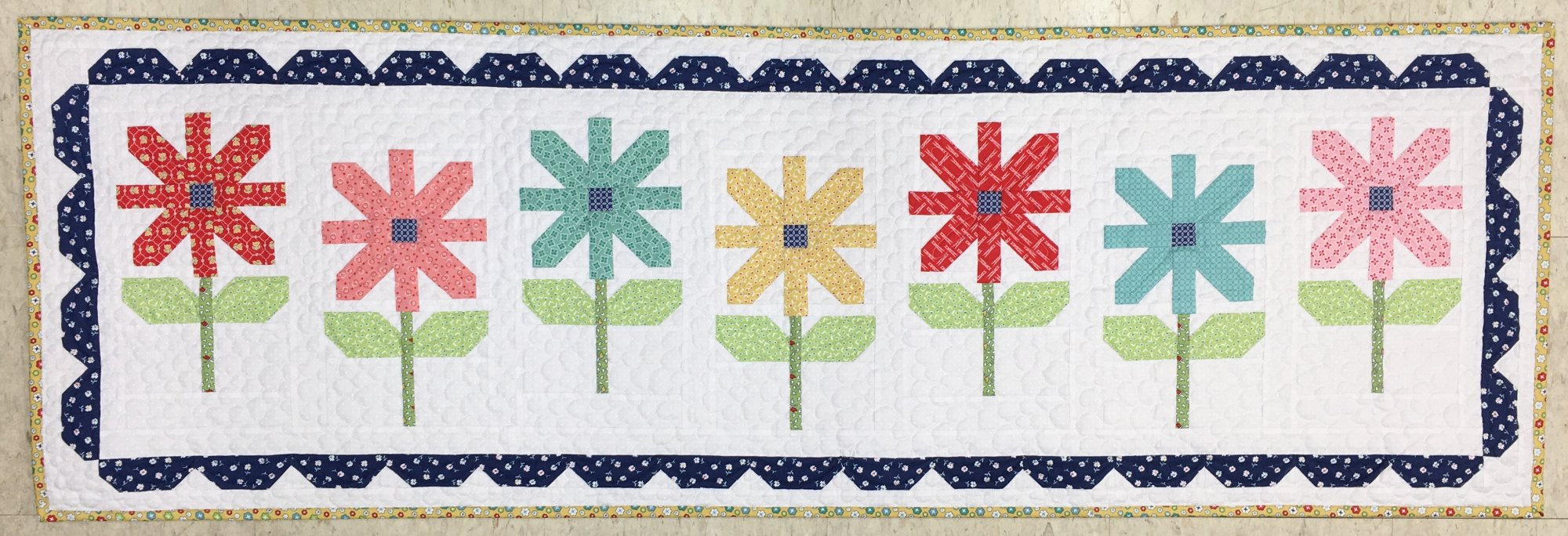 Happy Flowers Table Runner 21-1/2 x 65-1/2 From the Quilter's Cottage Book