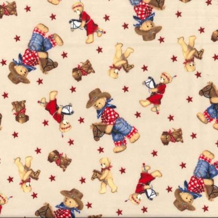 Flannel Prints Teddy Bear Cowboy Tan