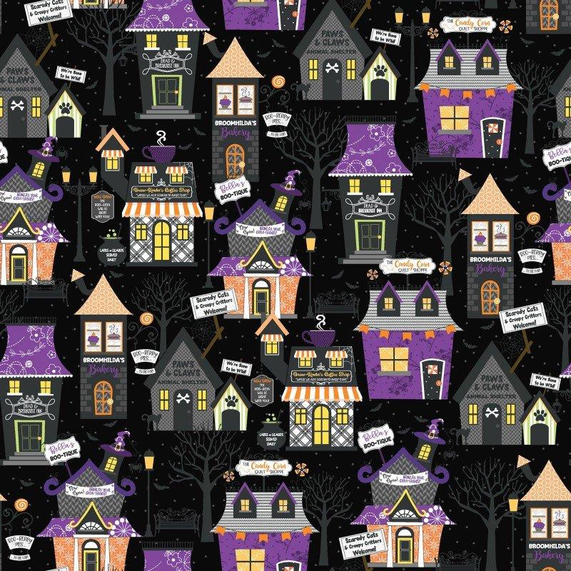 Hometown Halloween Black Buildings