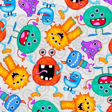 Comfy Flannel Prints Monsters on Grey
