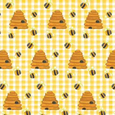 Comfy Prints Flannel Yellow Beehives