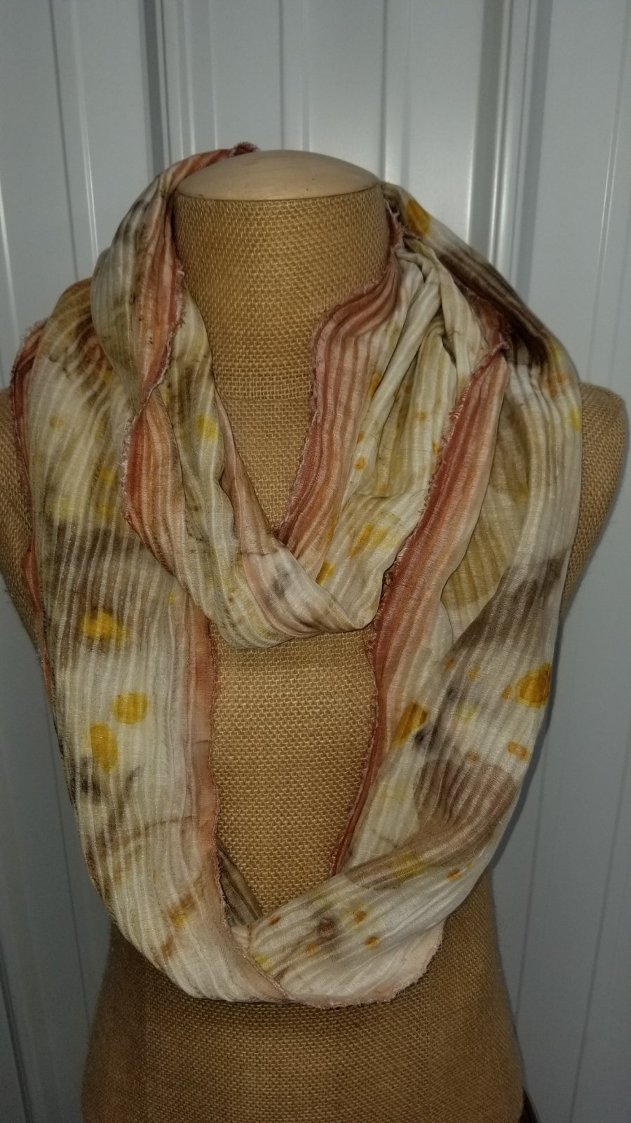 Hand Painted Eco Print Infinty Scarf