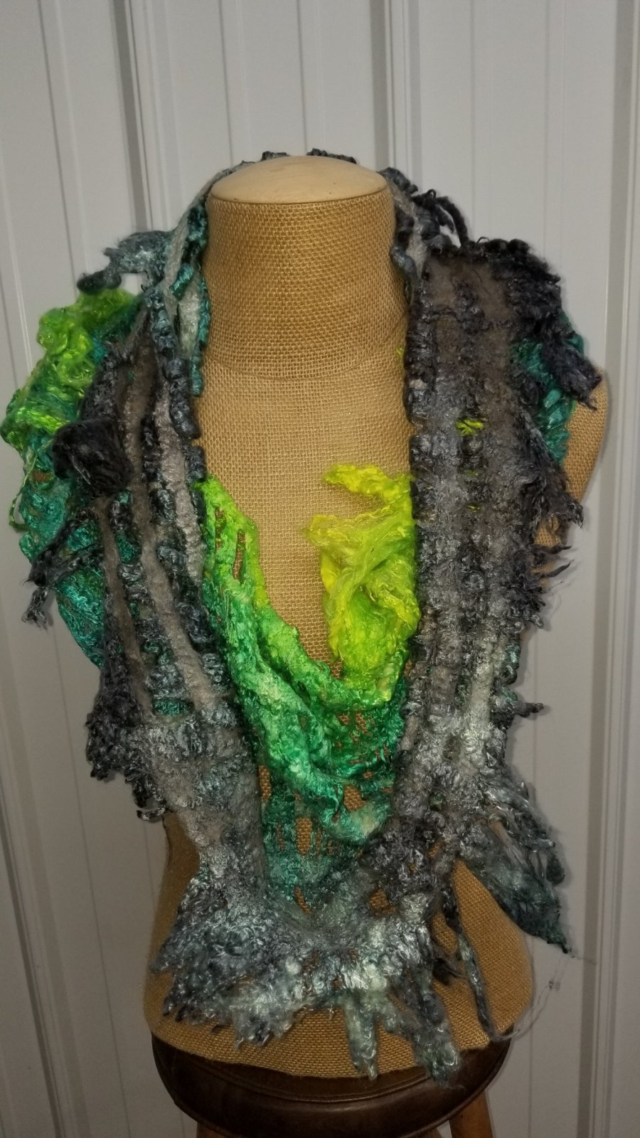 Nuno Felt Silk Cowl Neck Bright Moss