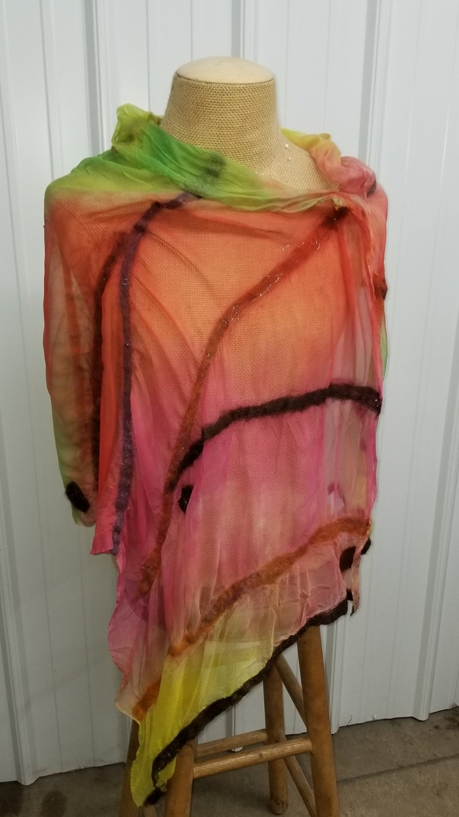 Nuno Felt Lattice Summer Poncho Stain Glass