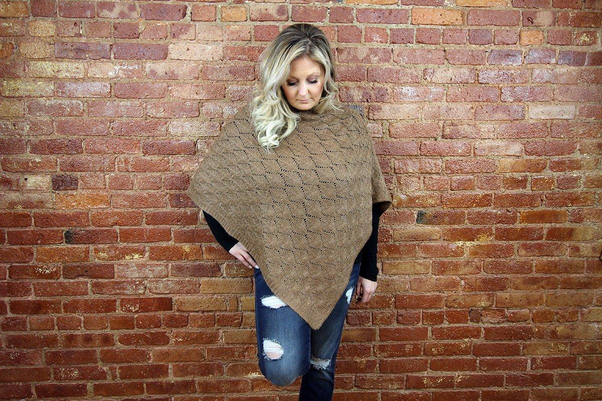 Alpaca Leaf Knit Poncho--Brown