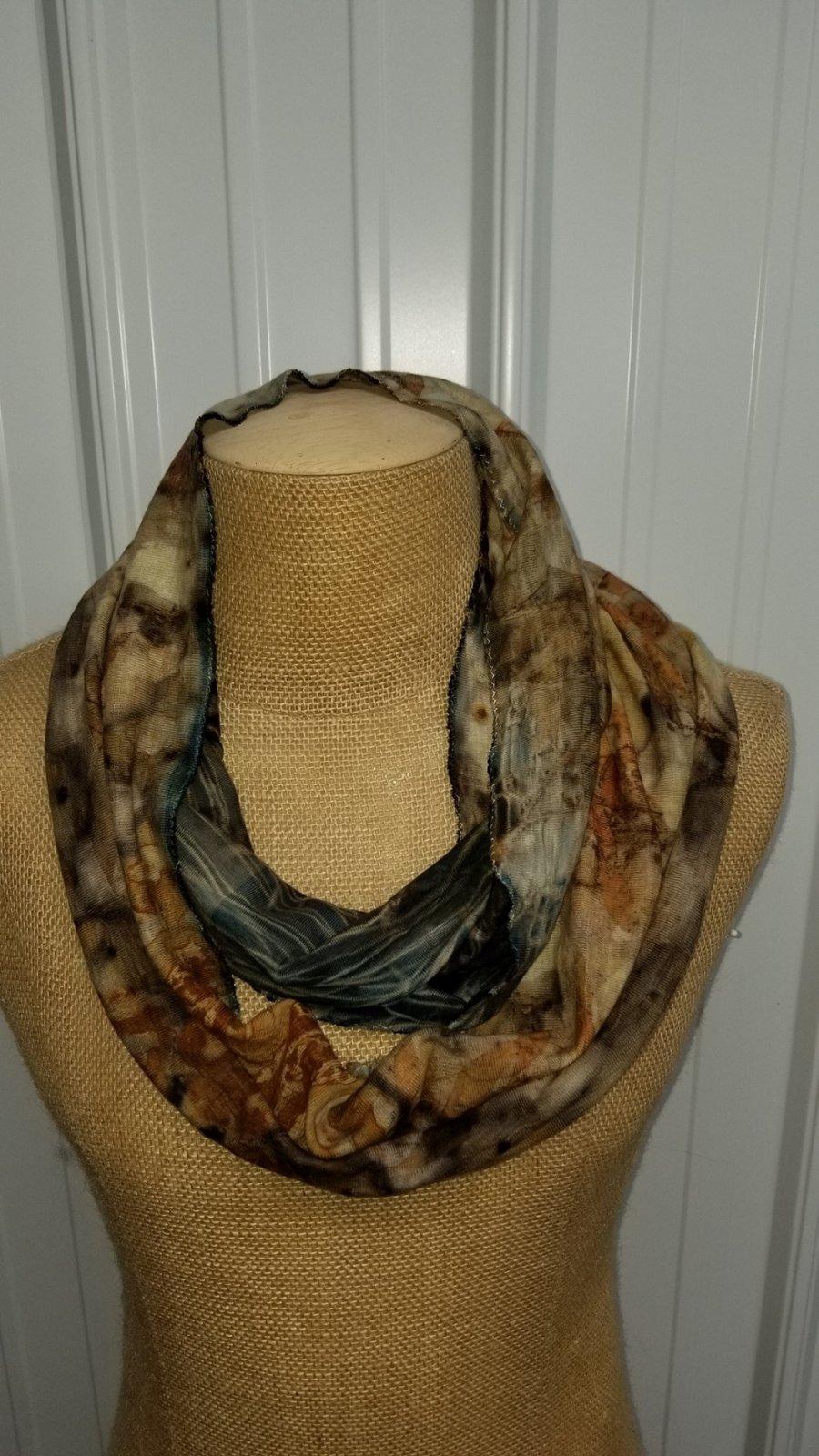 Eco Print Knit Infinity Scarf