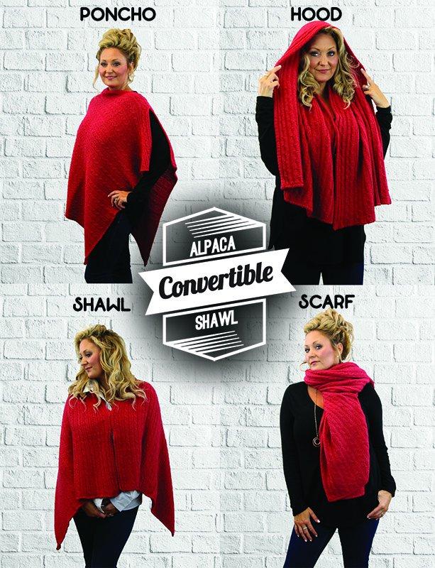 Alpaca Knit Convertible Shawl
