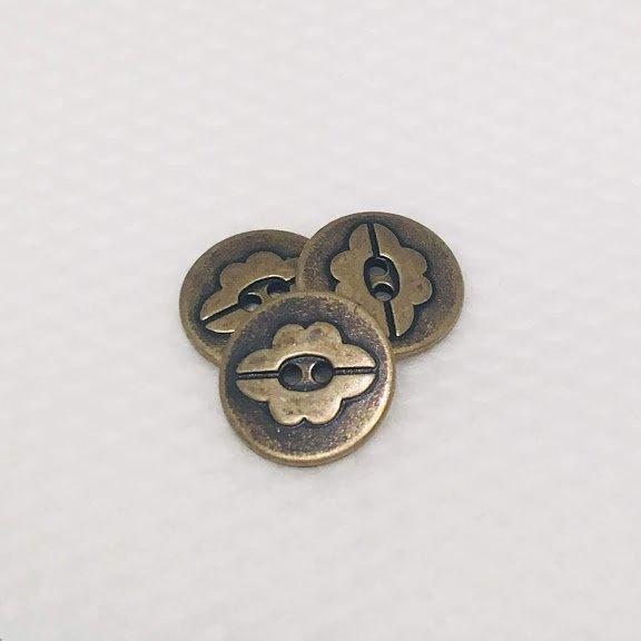 Antique Brass Flower Button