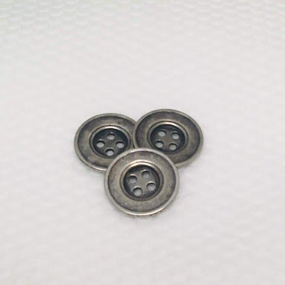 Antique Silver Four Hole Metal Button