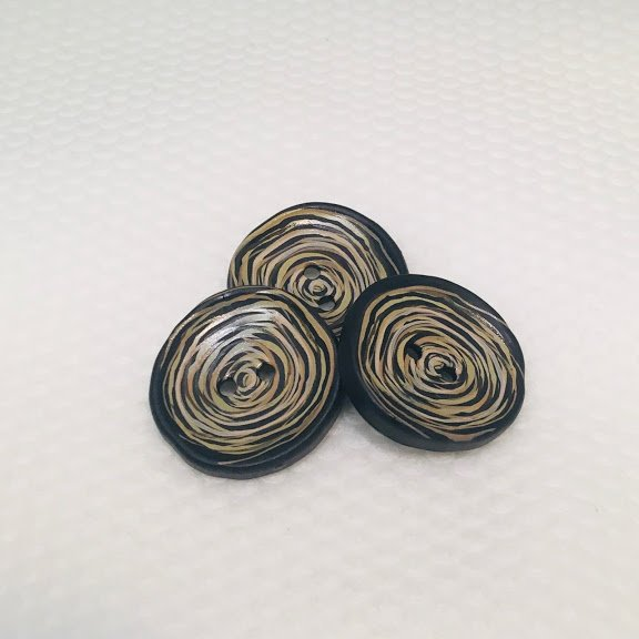 Black & Brown Swirl Button