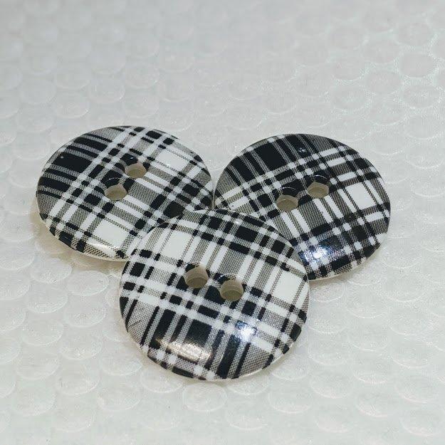 Black and White Tartan Button