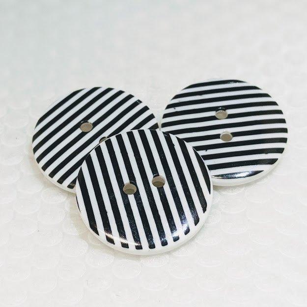 Black & White Striped Button