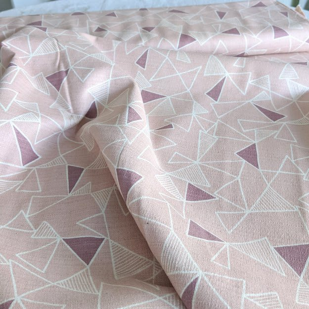 Cotton/Linen Barkcloth - Blush Triangles
