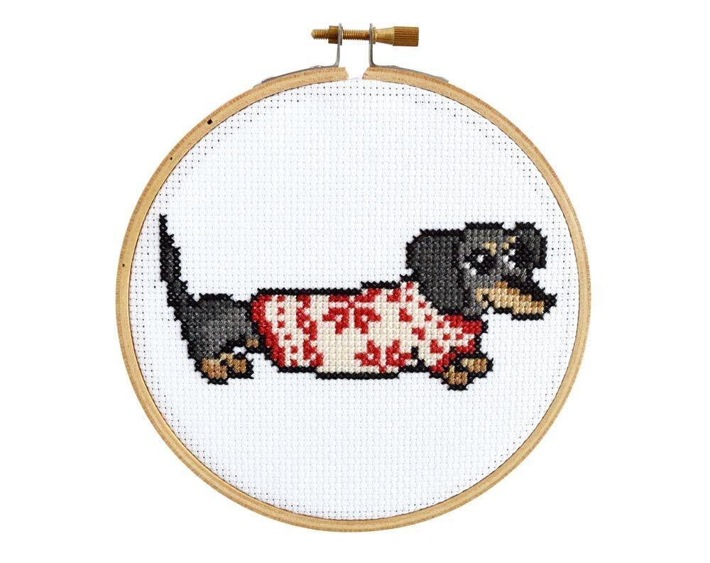 Cozy Dachshund Cross Stitch Kit